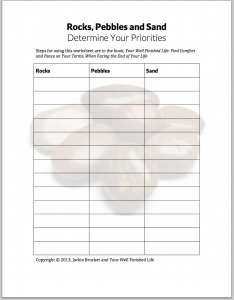 Rocks, Pebbles Sand: Determine Your Priorities worksheet